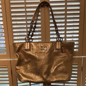 Silver/gold metallic Coach purse